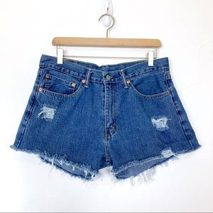 Levi's high waisted cut off jean shorts distressed